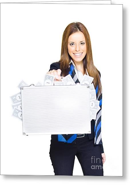Business Finance Woman Greeting Card