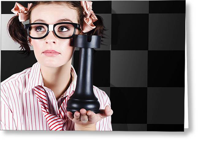 Business Leader Thinking Up Strategy Game Plan Greeting Card by Jorgo Photography - Wall Art Gallery