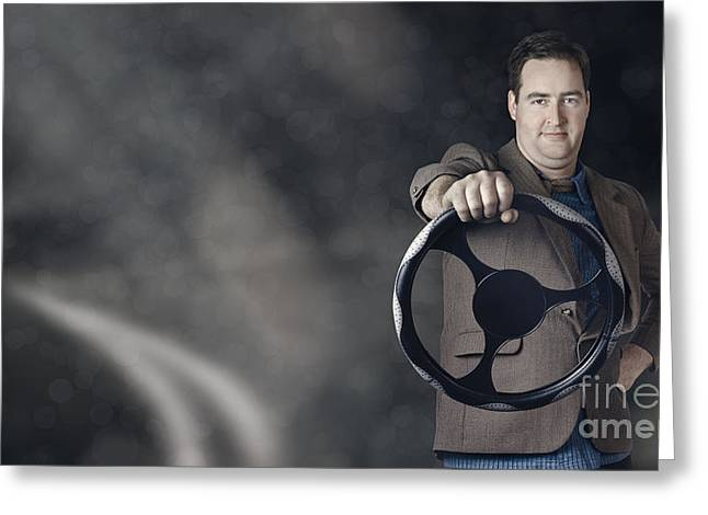 Business Man Behind The Wheel When Driving Car Greeting Card by Jorgo Photography - Wall Art Gallery