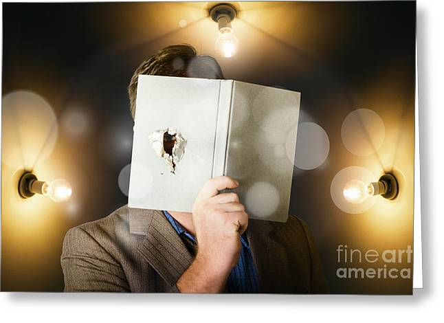 Business Man Spying And Tracking Market Research Greeting Card by Jorgo Photography - Wall Art Gallery