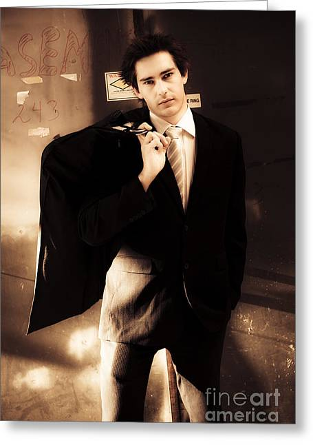 Business Man Taken To The Cleaners Greeting Card by Jorgo Photography - Wall Art Gallery