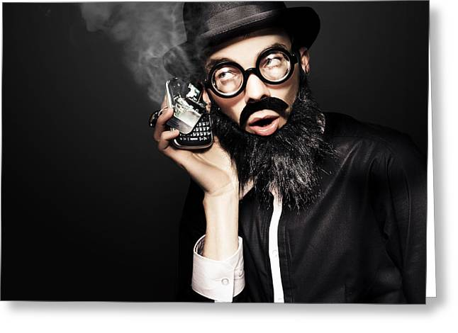 Business Man Talking On Broken Smart Mobile Phone Greeting Card by Jorgo Photography - Wall Art Gallery