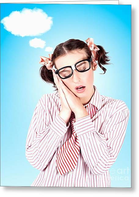 Business Person Dreaming Up Relax Cloud Greeting Card