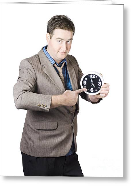Business Person Pointing To Time On Office Clock Greeting Card