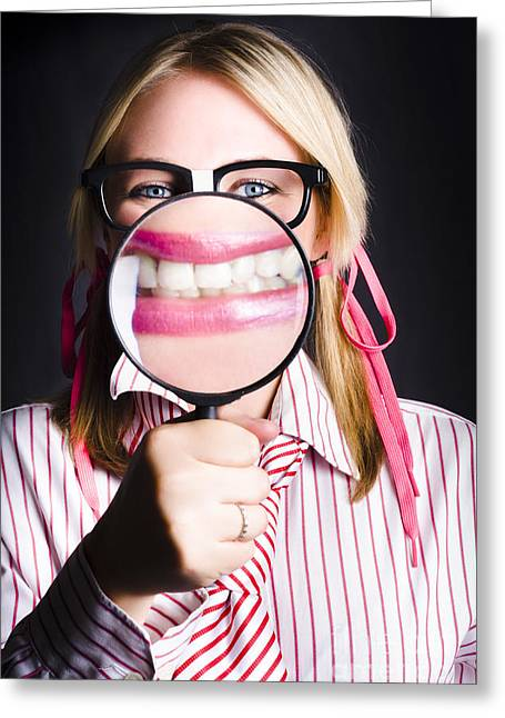 Business Person With Work Dental Health Cover Greeting Card by Jorgo Photography - Wall Art Gallery