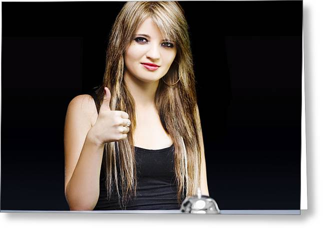 Business Woman At Desk With Thumbs Up On Black Greeting Card by Jorgo Photography - Wall Art Gallery