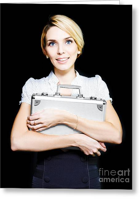 Business Woman Clutching A Metal Briefcase Greeting Card