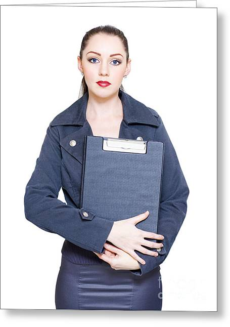 Business Woman Holding Marketing Strategy Document Greeting Card by Jorgo Photography - Wall Art Gallery