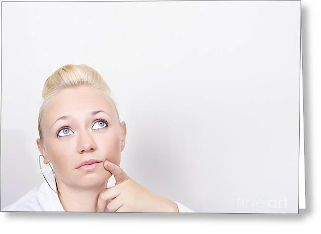 Business Woman In Thought Look To Wall Copy Space Greeting Card by Jorgo Photography - Wall Art Gallery