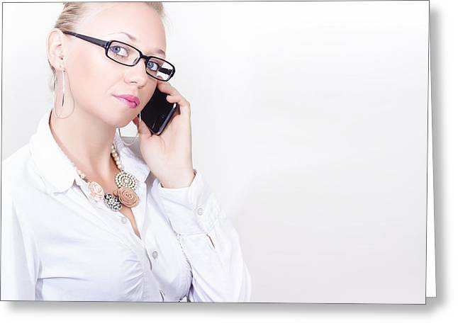 Business Woman Networking On Corporate Phone Call Greeting Card by Jorgo Photography - Wall Art Gallery