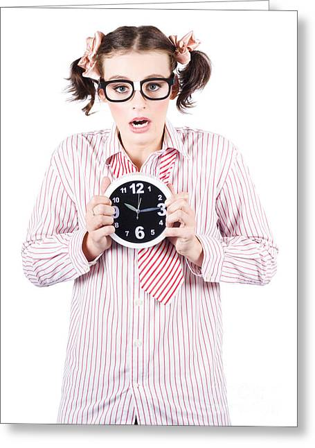 Business Woman Under Stress Holding Alarm Clock Greeting Card by Jorgo Photography - Wall Art Gallery