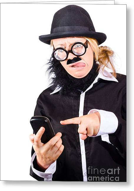 Business Woman With Cell Phone Greeting Card by Jorgo Photography - Wall Art Gallery