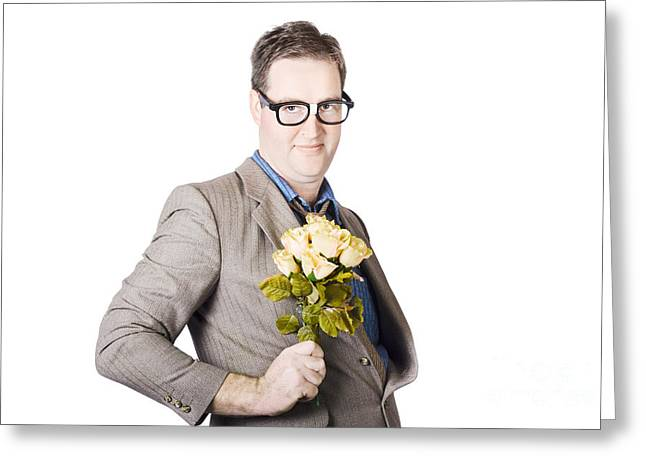 Businessman Holding Bouquet Greeting Card by Jorgo Photography - Wall Art Gallery