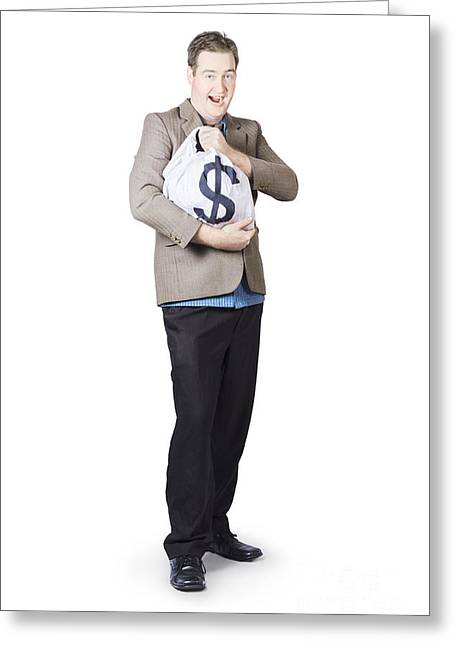 Businessman Holding Moneybag Greeting Card