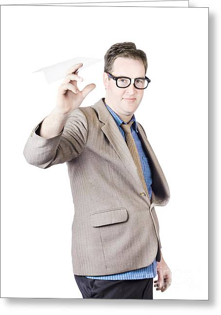 Businessman Holding Paper Airplane Greeting Card by Jorgo Photography - Wall Art Gallery
