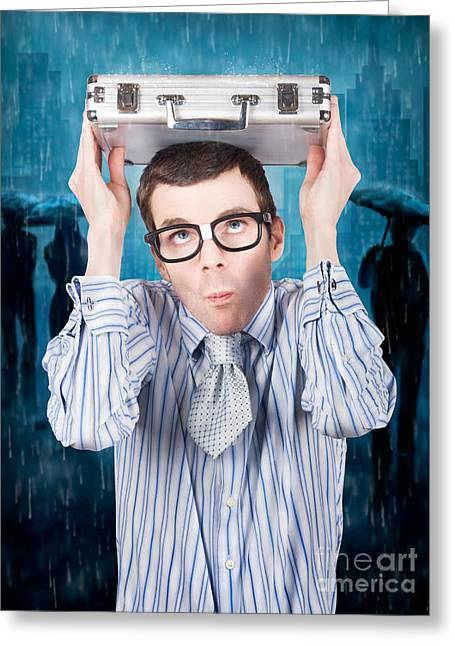 Businessman In Financial Storm. Insurance Cover Greeting Card by Jorgo Photography - Wall Art Gallery
