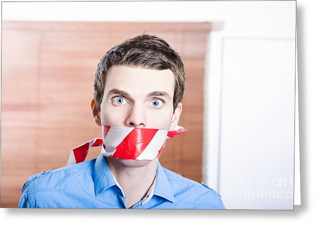 Businessman In Silence With Red Warning Tape Greeting Card by Jorgo Photography - Wall Art Gallery