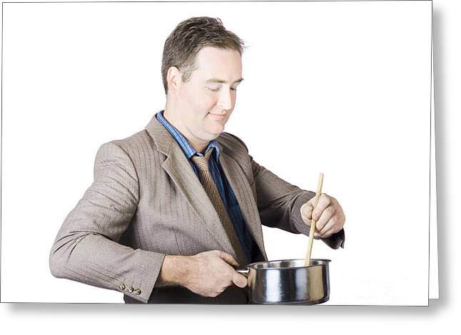 Businessman Preparing Food Greeting Card by Jorgo Photography - Wall Art Gallery