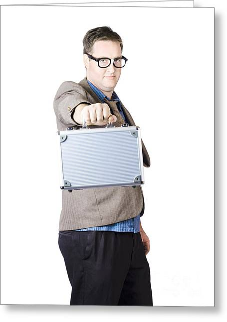 Businessman Showing His Briefcase Greeting Card