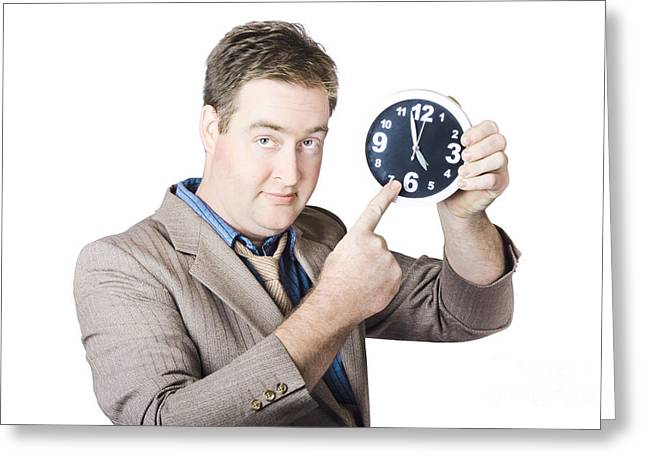 Businessman Showing Time Greeting Card by Jorgo Photography - Wall Art Gallery
