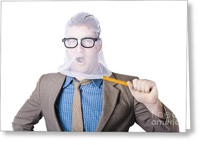 Businessman Trapped In Net Greeting Card