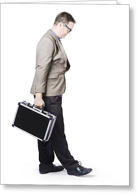 Businessman Travelling With Office Briefcase Greeting Card