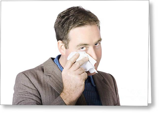 Businessman Wiping Face Greeting Card by Jorgo Photography - Wall Art Gallery