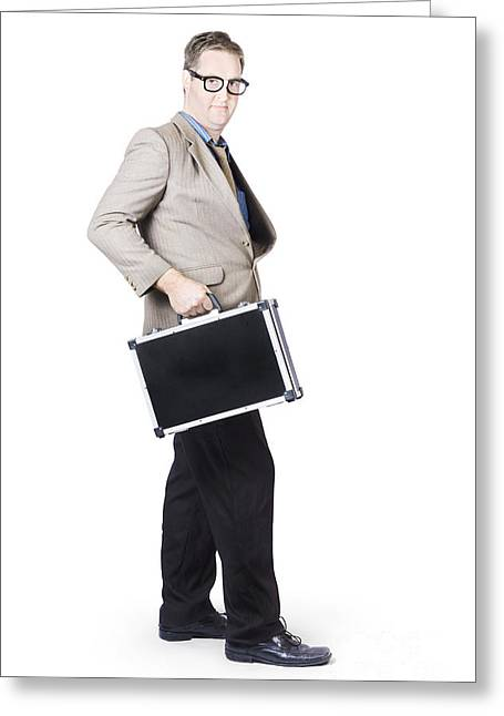 Businessman With Office Briefcase Greeting Card