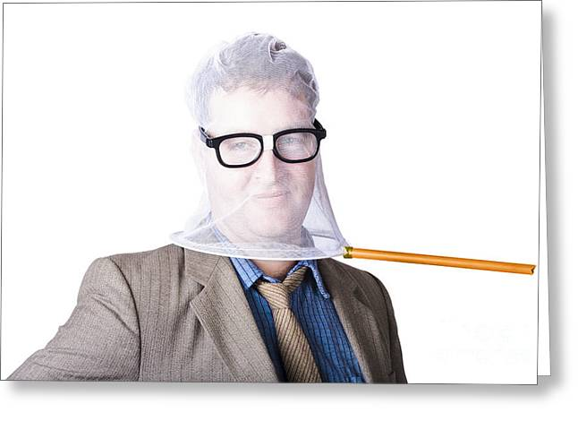 Businessman's Face Covered With Butterfly Net Greeting Card