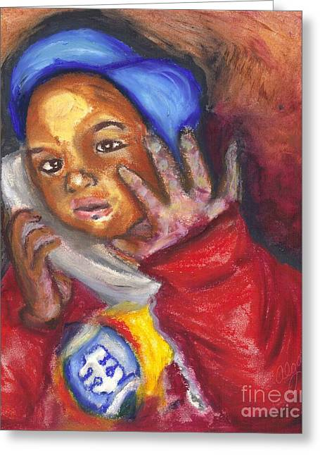 Greeting Card featuring the pastel Busy Talkin To Grandma Right Now by Alga Washington