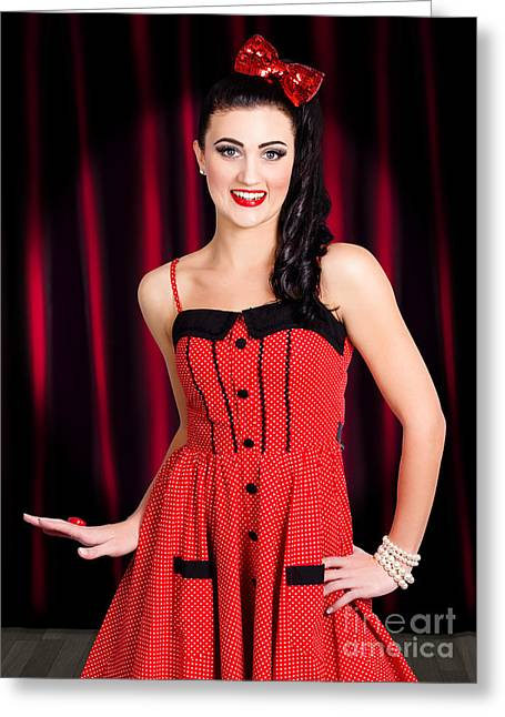 Cabaret Show Girl Performer In The Stage Spotlight Greeting Card