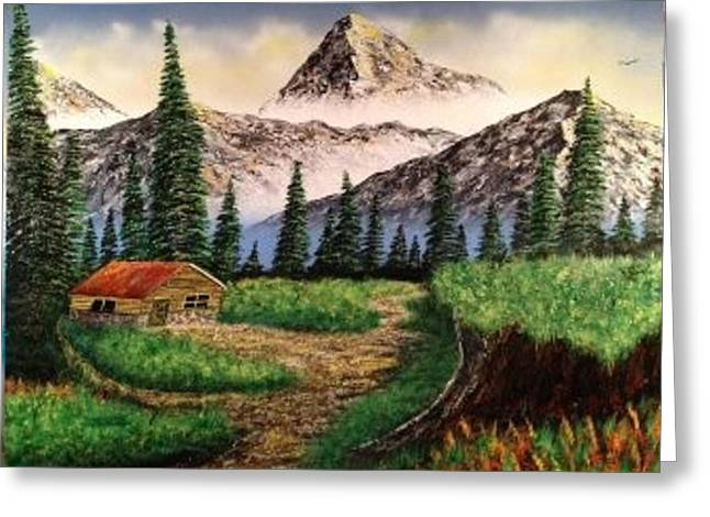 Greeting Card featuring the painting Cabin In The Mountains by Michael Rucker