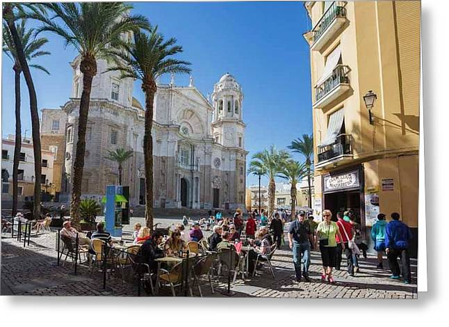 Cadiz, Spain. The Cathedral Greeting Card by Ken Welsh