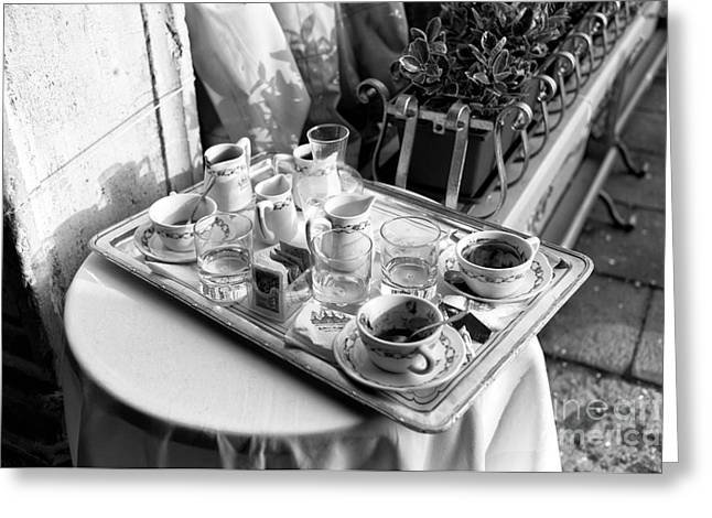 Cafe Essentials Greeting Card by John Rizzuto