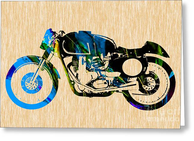 Cafe Racer Motorcycle Greeting Card by Marvin Blaine