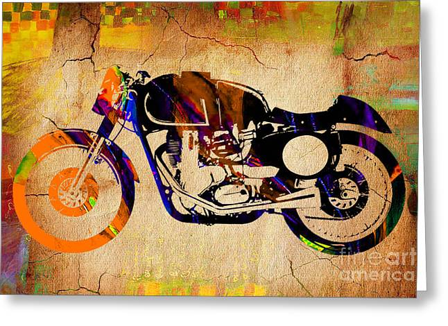Cafe Racer Painting. Greeting Card by Marvin Blaine