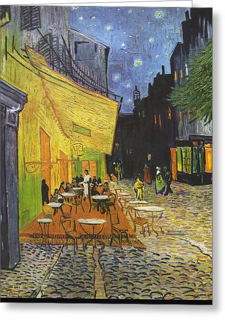 Cafe Terrace At Night Greeting Card by Vincent van Gogh