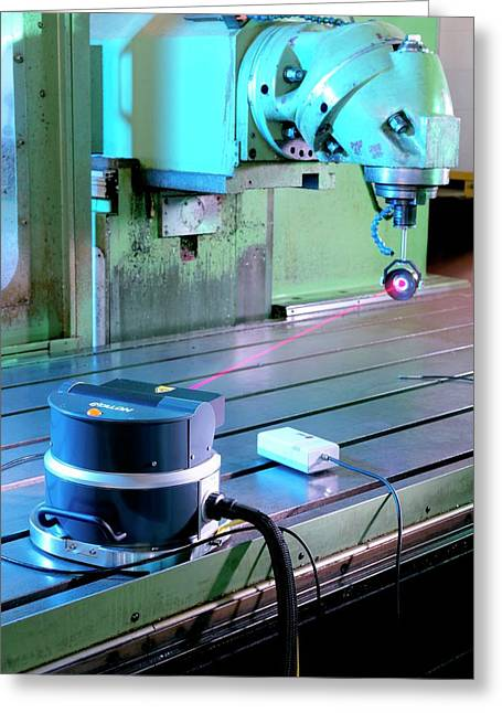 Calibrating A 3d Measurement Machine Greeting Card by Andrew Brookes, National Physical Laboratory/science Photo Library