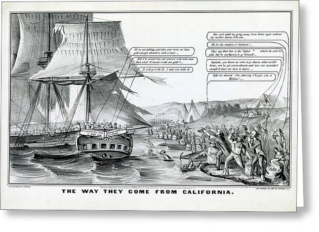 California Gold Rush Satire Greeting Card by Library Of Congress