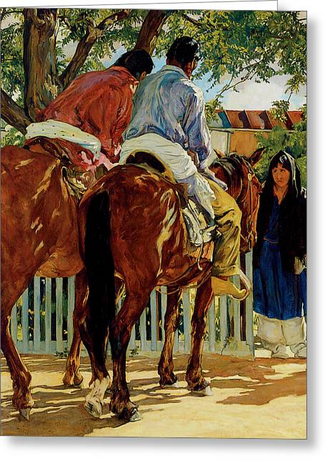 Callers Greeting Card by Walter Ufer