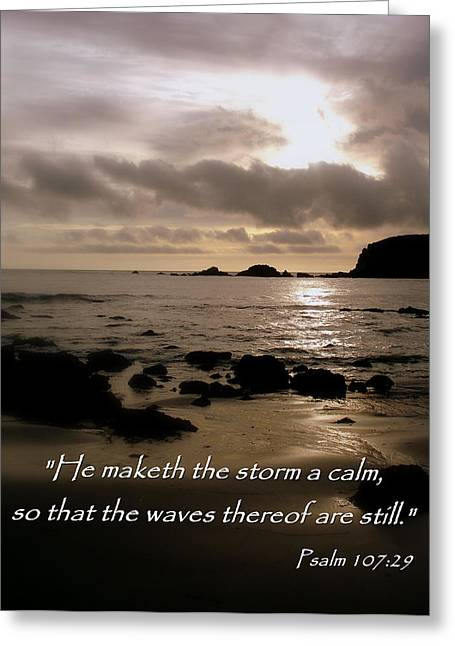 Calm Sea Psalm 107 Greeting Card by Cindy Wright