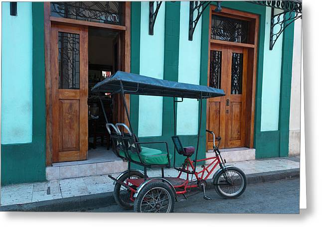 Camaquey, Cuba Street Old Bike Carriage Greeting Card