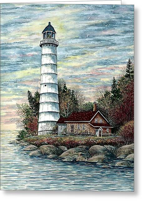 Cana Island Light Greeting Card by Steven Schultz