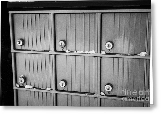 canada post post mailboxes in rural small town Forget Saskatchewan Canada Greeting Card