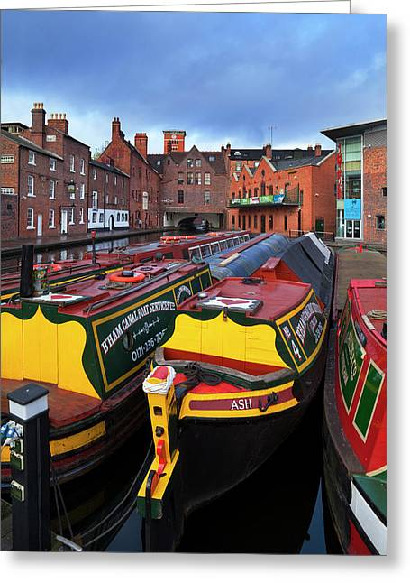 Canal Narrow Boats At The Gas Street Greeting Card