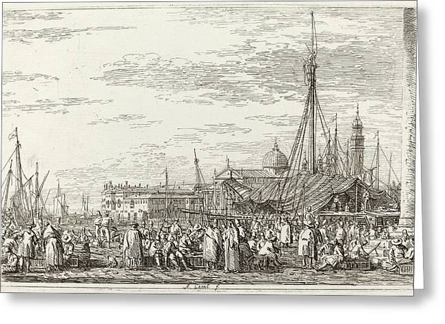 Canaletto Italian, 1697 - 1768, The Market On The Molo Greeting Card by Quint Lox