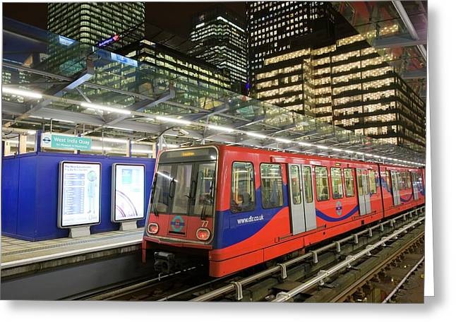 Canary Wharf In London Uk Greeting Card by Ashley Cooper