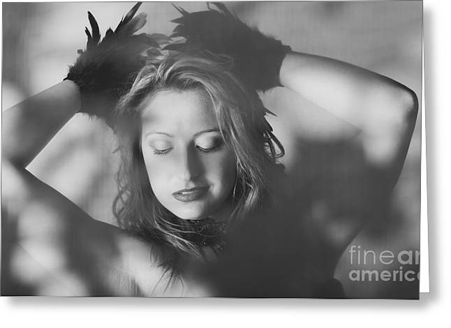 Candid Beautiful Woman In Vintage Feather Fashion Greeting Card by Jorgo Photography - Wall Art Gallery