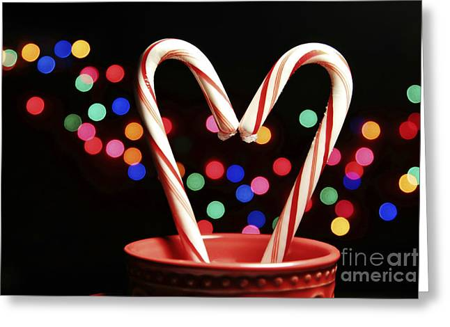 Candy Cane Heart Greeting Card