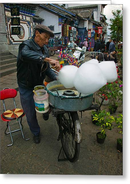 Candy Floss Vendor Selling Cotton Greeting Card by Panoramic Images